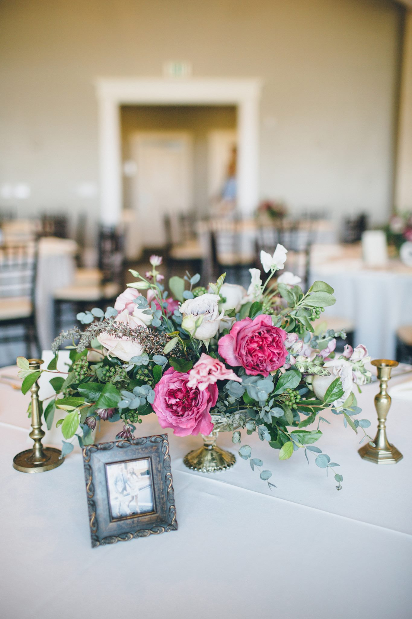 Low Pink Vintage Centerpiece