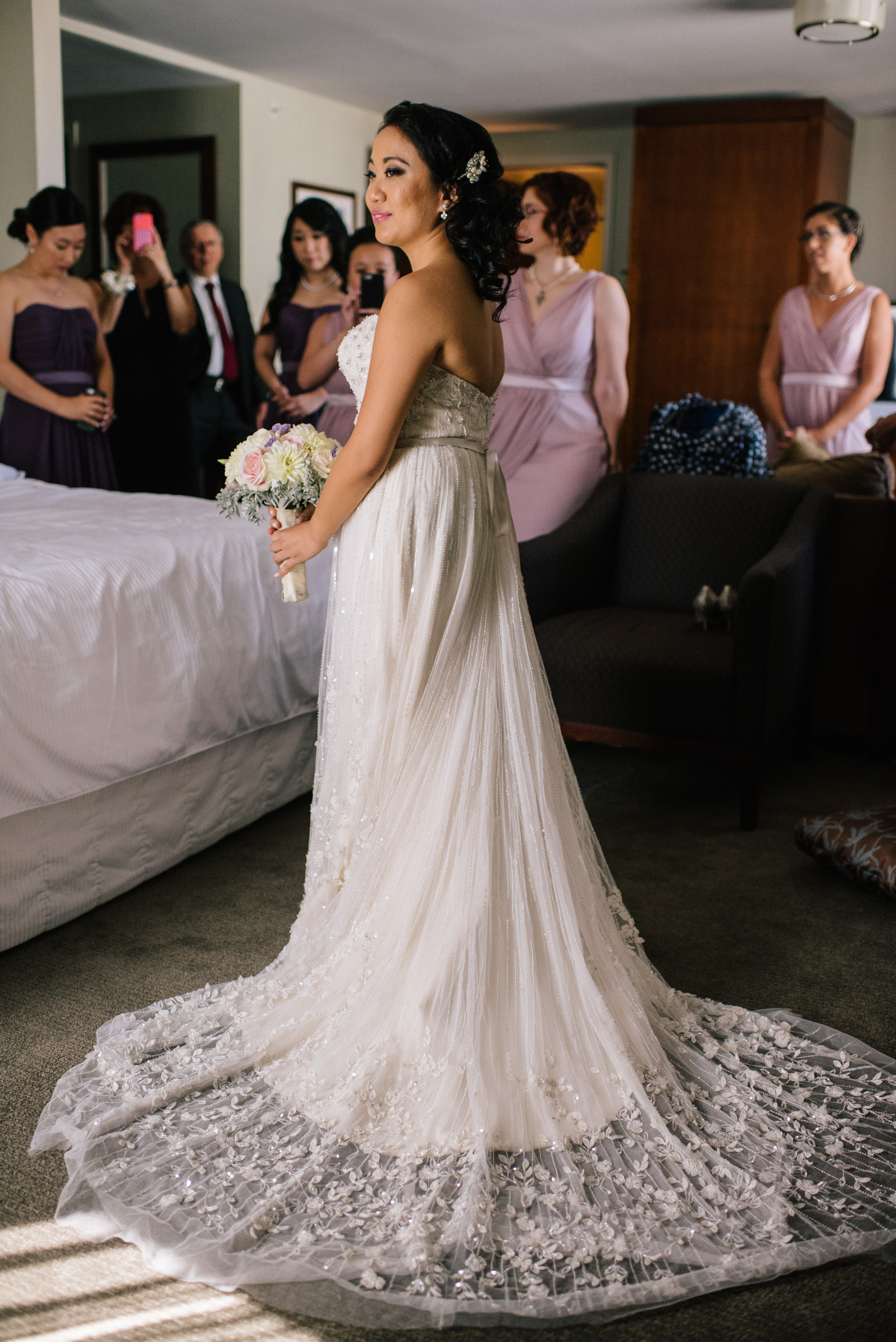 Our New York City bride rocked this vintage wedding gown and we are swooning over the beading and detail!