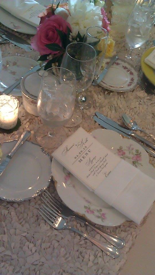 Vintage china and floral table linens were the perfect compliment for this secret garden inspired wedding. See this look and more on our blog where we're showing you how to make your garden wedding unique!