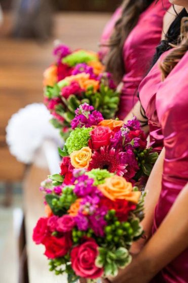 Bright bouquets for bridesmaids