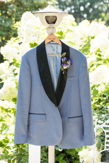 Dusty blue groomsmen tuxedo for a spring wedding