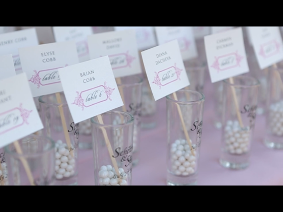 Escort card holders for a rehearsal dinner.