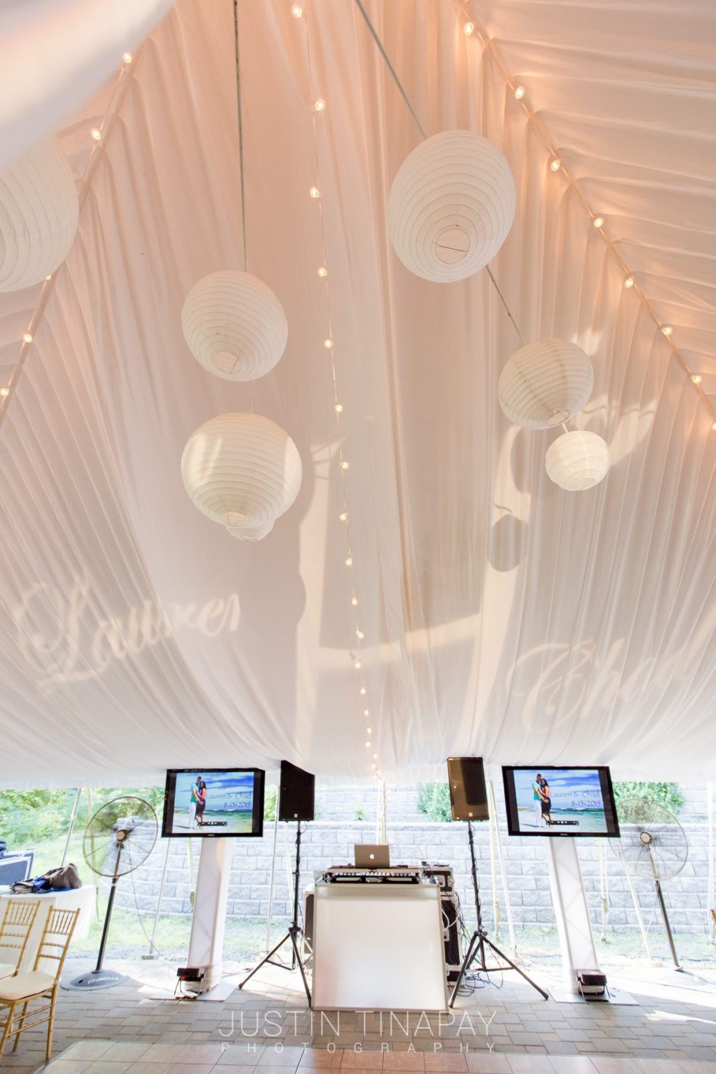 white tent outdoor wedding reception