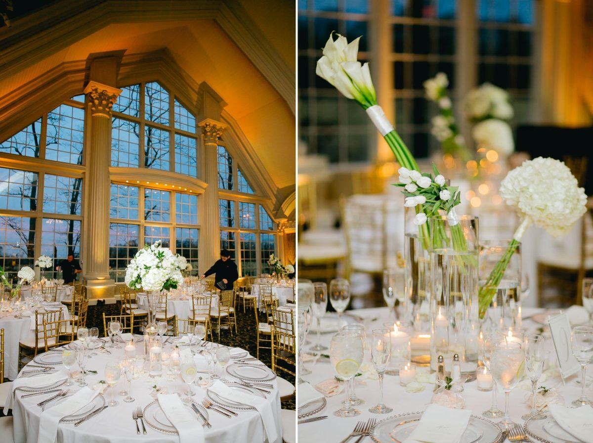 wedding reception white centerpieces