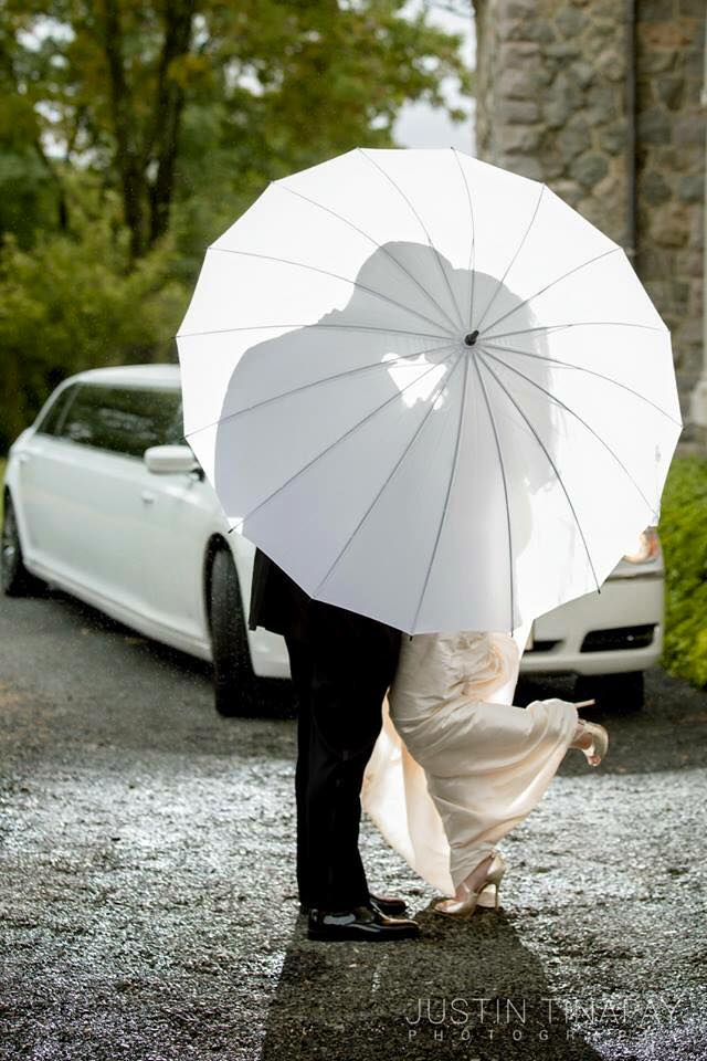 bride and groom behind umbrella