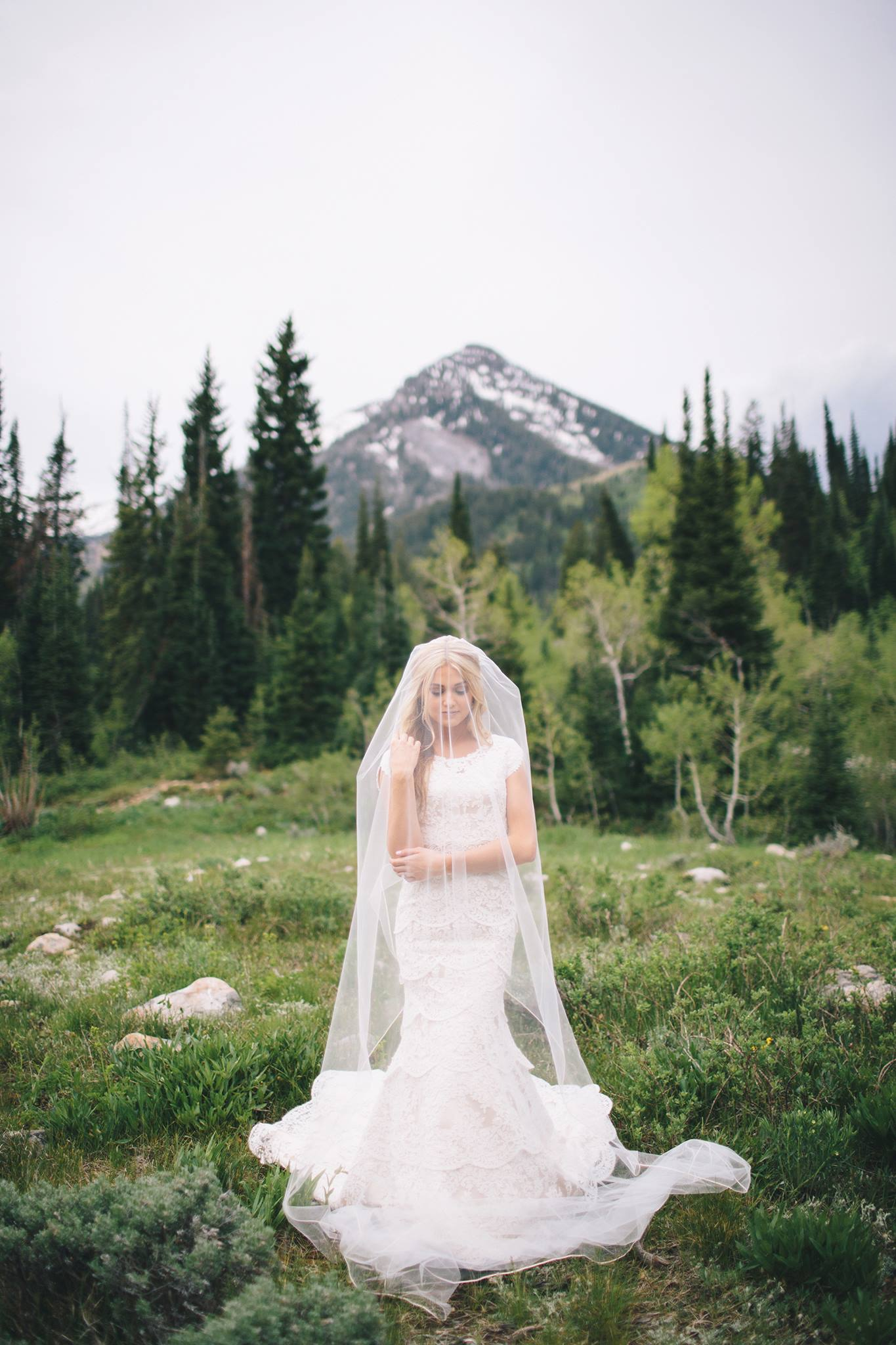 bride in mountains