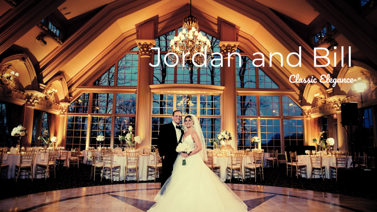 bride and groom in ballroom