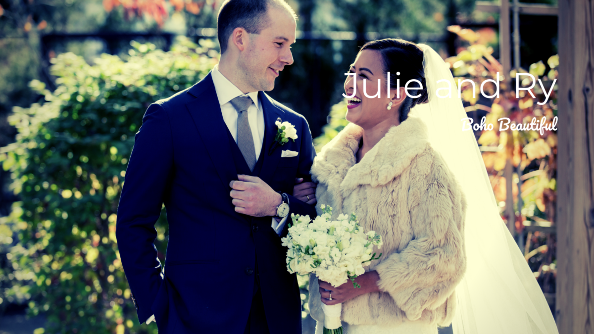 bride in faux fur with groom