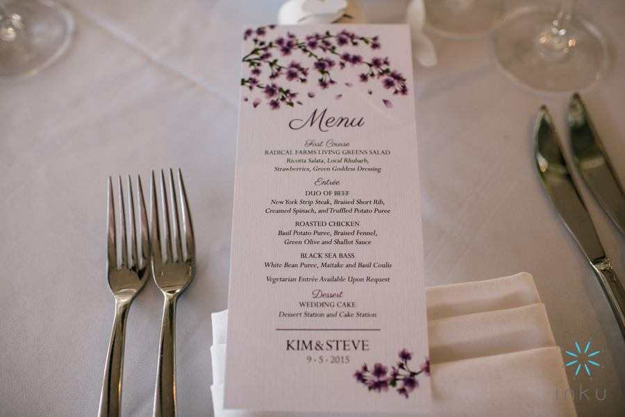 wedding menu with deep purple flowers