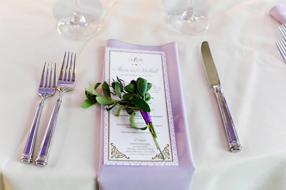 purple napkin with greenery