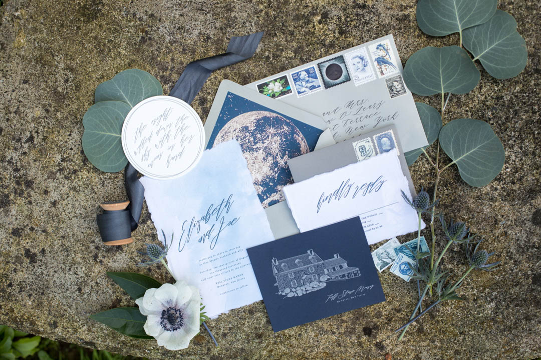 purple, blue and gray wedding invitation suite