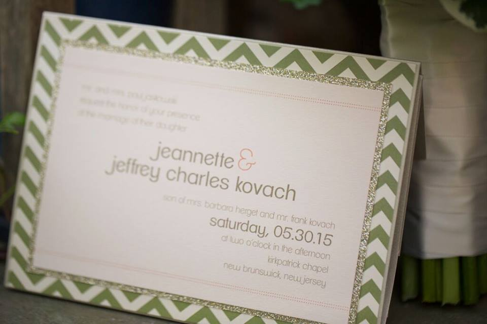 wedding invitation with chevron border detail
