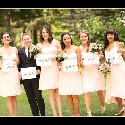 bridesmaids in short peach dresses