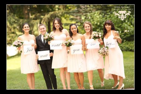 bridesmaids in short peach dresses