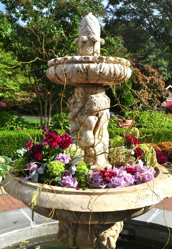 fountain filled with flowers