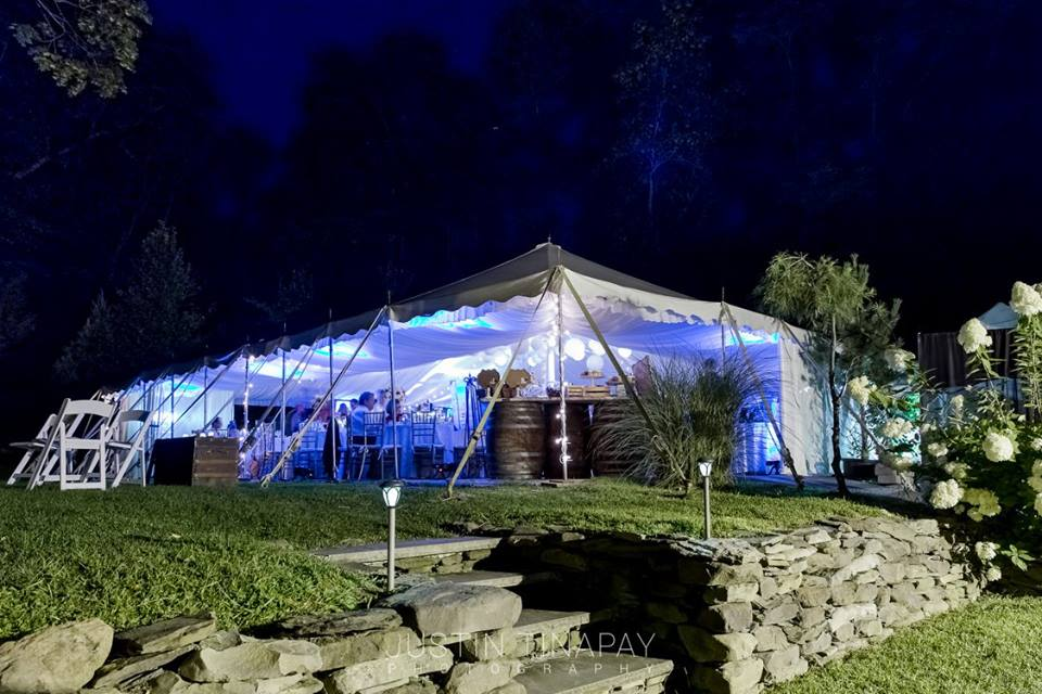 wedding tent with purple lighting
