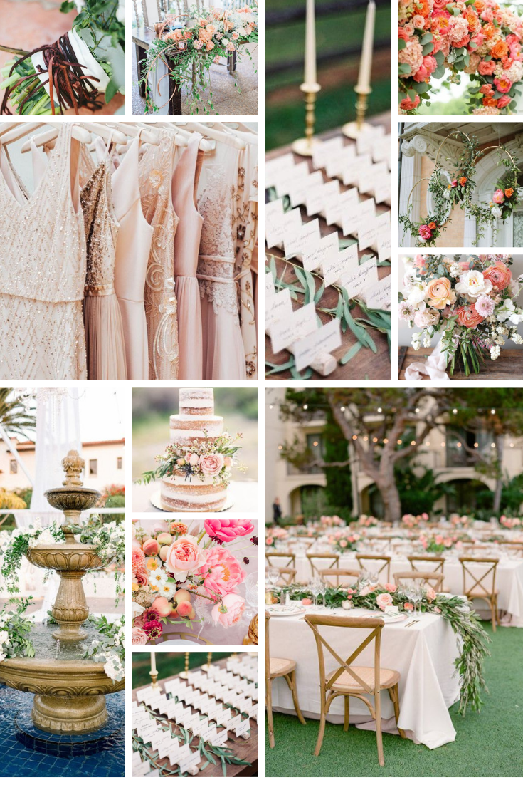 wedding inspo board with lots of colors