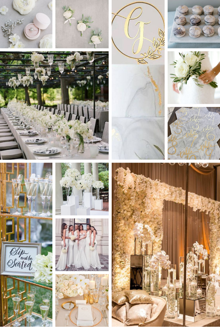 white and gold inspo board for wedding