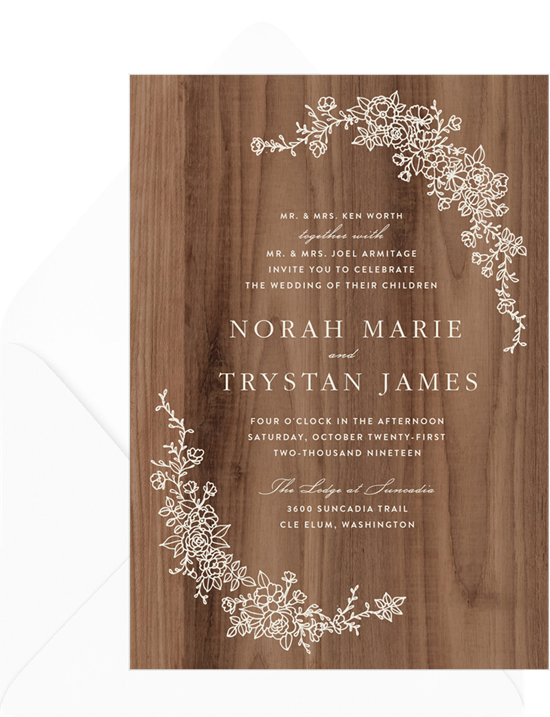 wood wedding invite