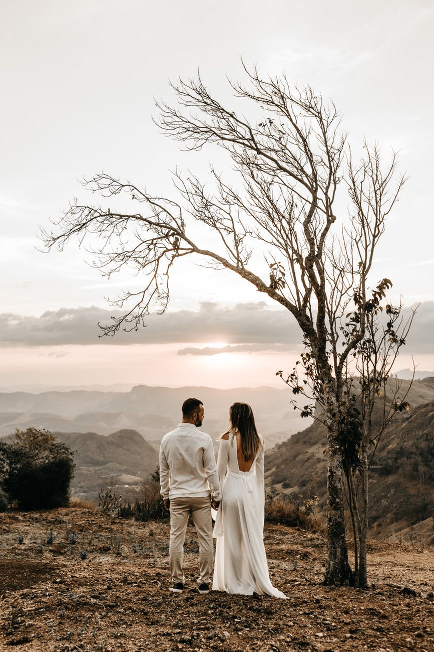 bride and groom and bare tree