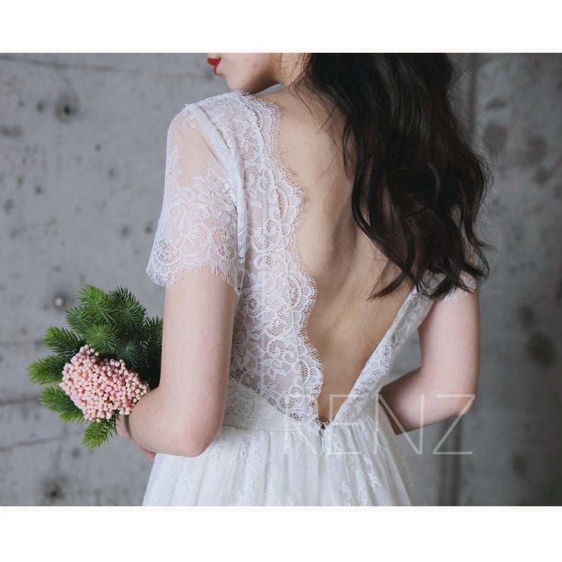 lace wedding gown back