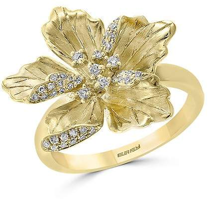 flower and diamond engagement ring
