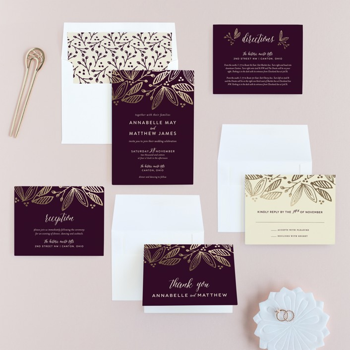 burgundy wedding invitation suite