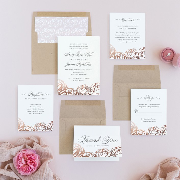 pink and white wedding invites
