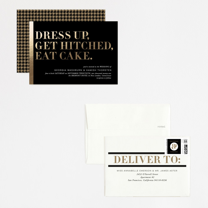 black and gold wedding invite suite