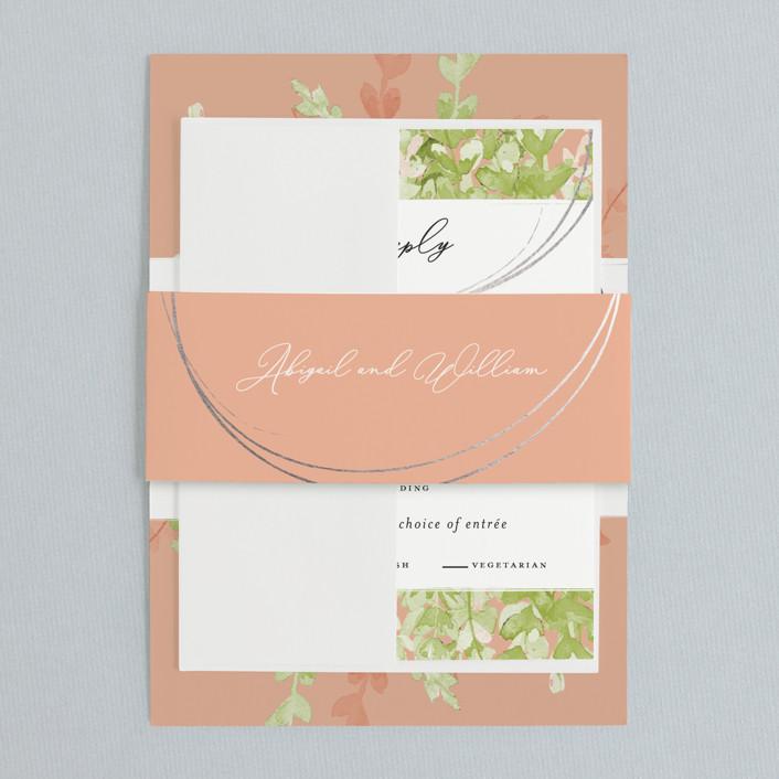 cantaloupe color wedding invitation