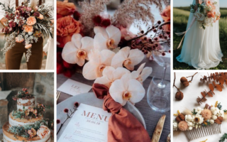 cantaloupe color wedding inspo board