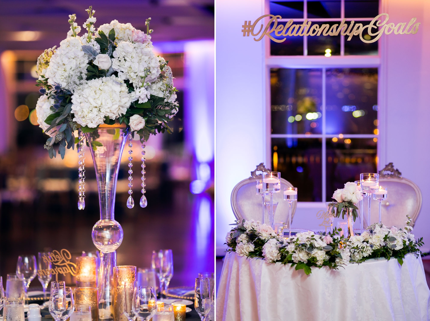wedding centerpiece and sweetheart table