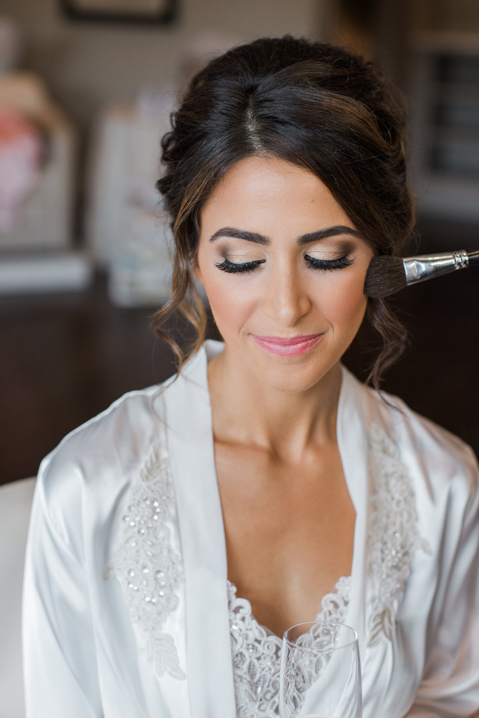 bride hair and makeup done