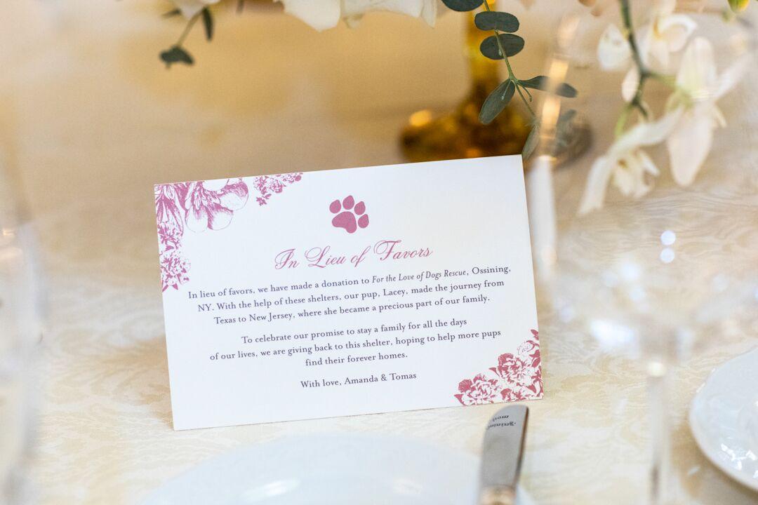 charity card at wedding
