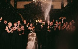 champagne splash at wedding