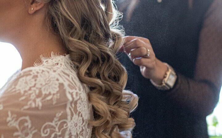 bride getting hair done