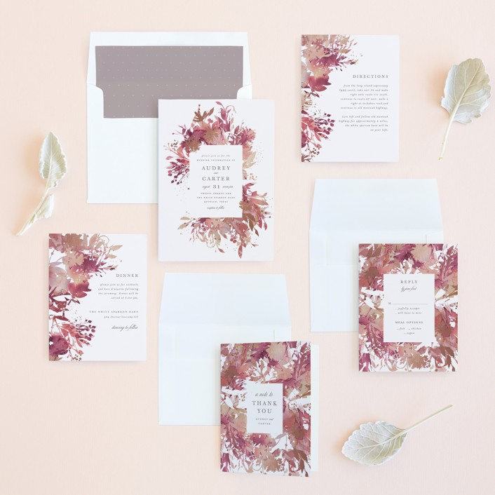 pink and gray wedding invitation suite