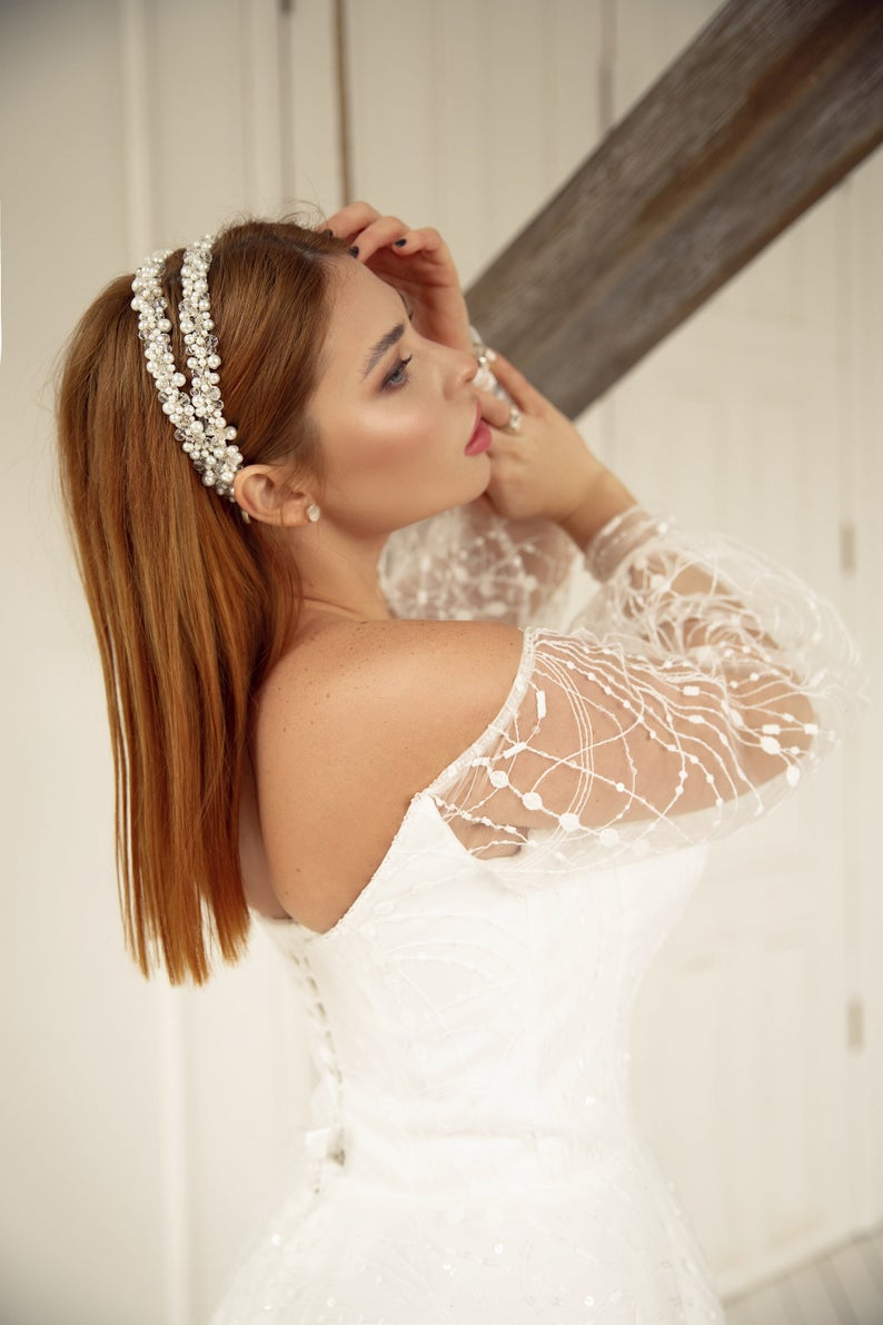 double band wedding hair accessories