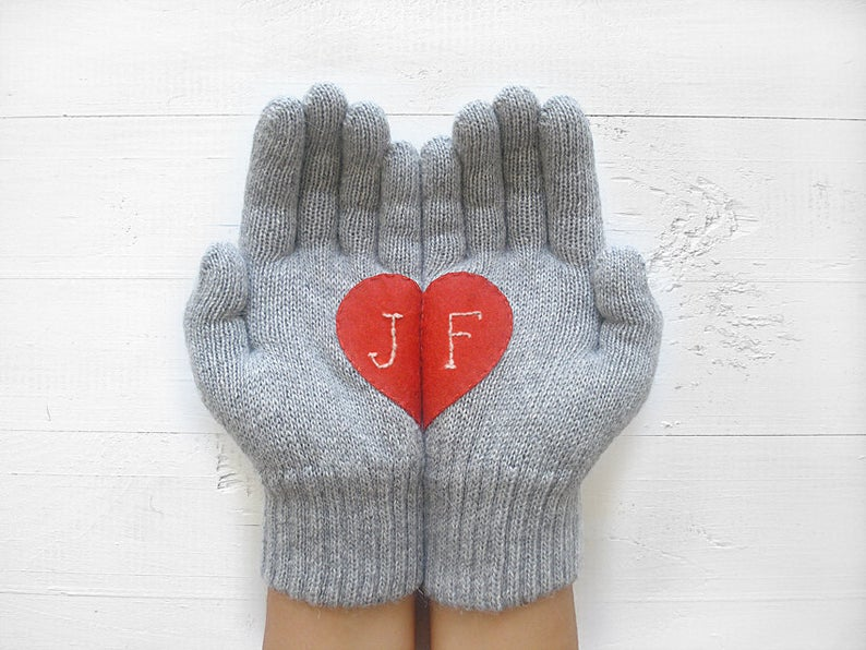 monogrammed heart gloves