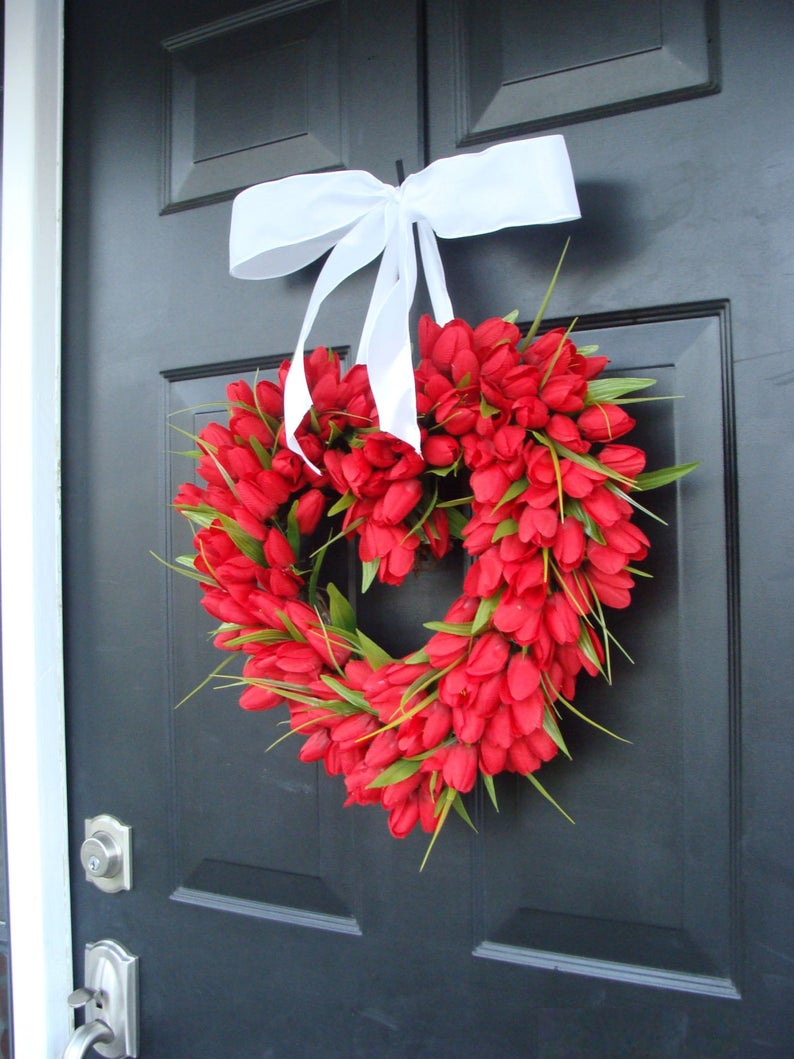 red tulip heart shaped wreath