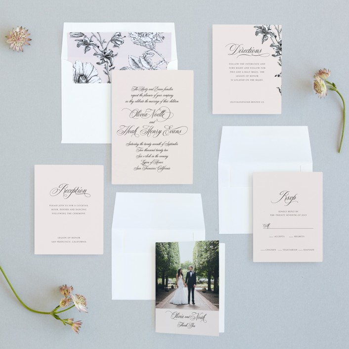 blush and black wedding invitation suite