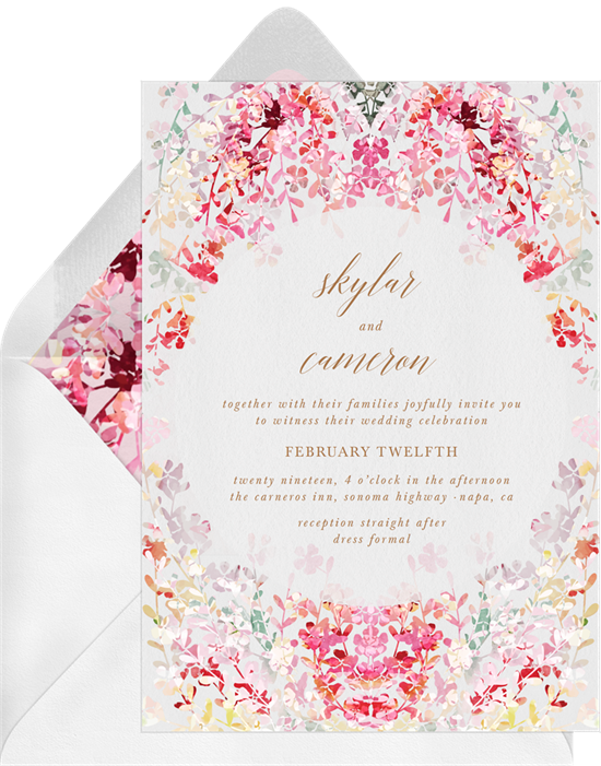 pink flower wedding invite suite