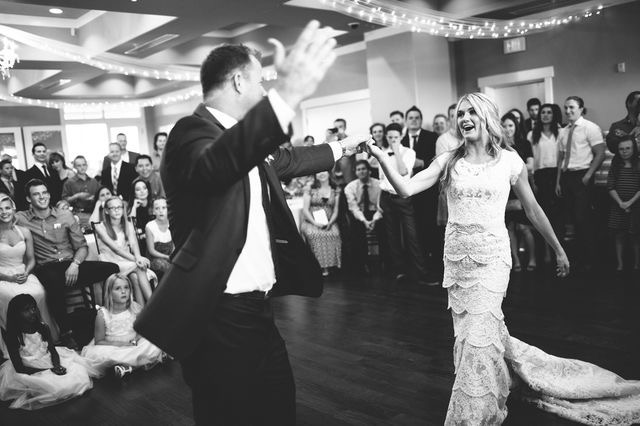father of the bride dancing with daughter at wedding reception