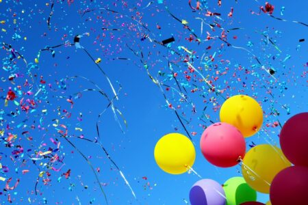 rainbow colored balloons