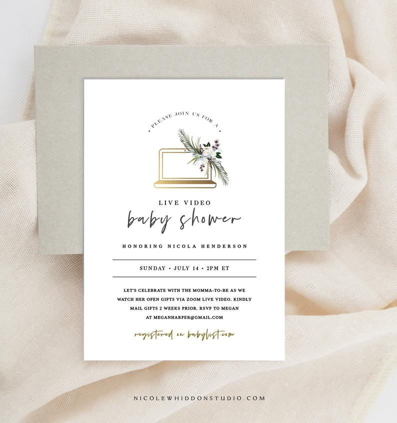 virtual baby shower invite