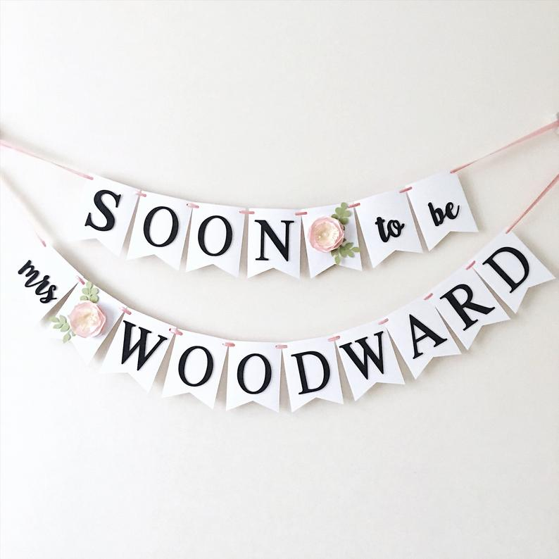 getting married banner with name